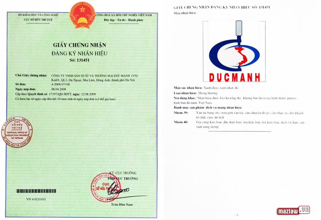 Mẫu giấy chứng nhận đăng ký nhãn hiệu