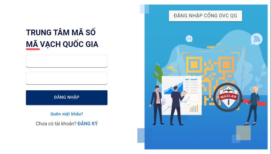 Đăng nhập tài khoản kê khai mã số mã vạch sản phẩm trên hệ thống VNPC